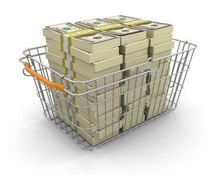 Shopping Basket and Pile of Dollars  photo