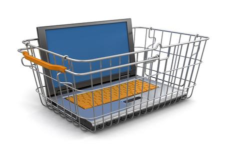 shopping basket: Shopping Basket and Laptop