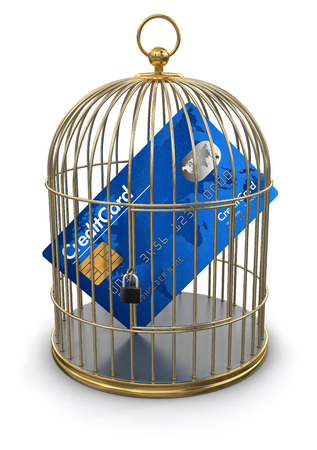 Gold Cage with Credit Card  clipping path included  photo