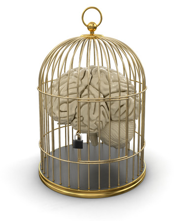 heartiness: Gold Cage with Human brain