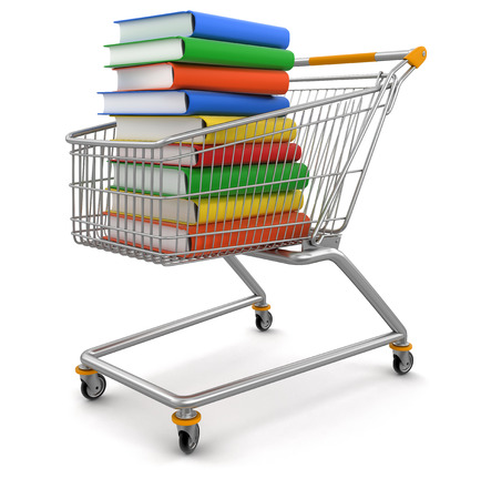 Shopping Carts and Stack of Books   photo