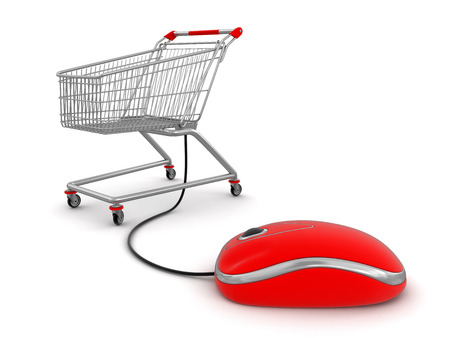 e cart: Shopping Cart  with computer mouse  clipping path included  Stock Photo