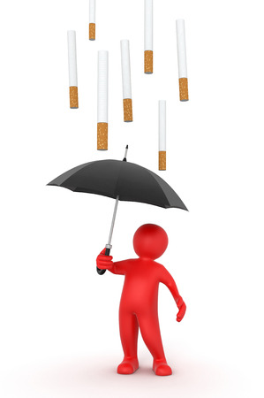 tobacco product: Man with Umbrella and Cigarettes   Stock Photo