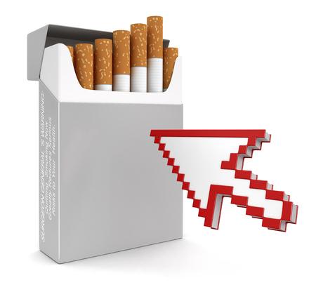 cigarette pack: Cursor and Cigarette Pack   Stock Photo