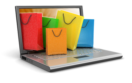 Laptop and Shopping Bags   photo