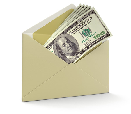 letter and Dollars   Stock Photo