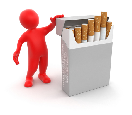 cigarette pack: Man and Cigarette Pack