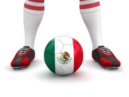bandera de mexico: El hombre y la pelota de f�tbol con la bandera mexicana Foto de archivo
