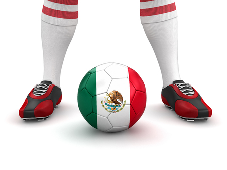 mexican flag: Man and soccer ball  with Mexican flag