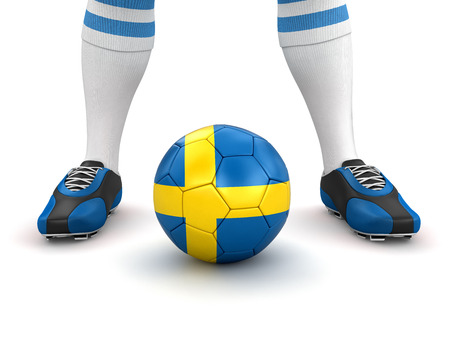 the swedish flag: Man and soccer ball  with Swedish flag Stock Photo