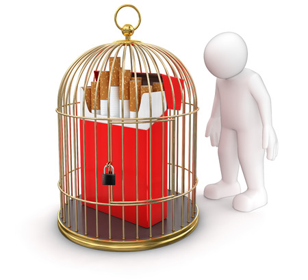 cigarette pack: Gold Cage with Cigarette Pack and Man