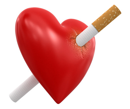 heartiness: Heart with Cigarette  Stock Photo