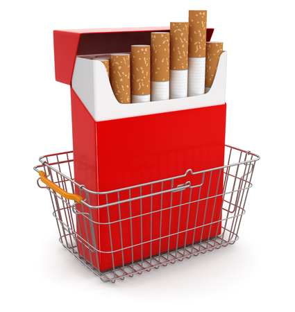 Shopping Basket and Cigarette Pack   Stock Photo