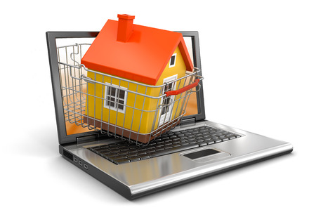 Shopping Basket and Laptop with House   photo