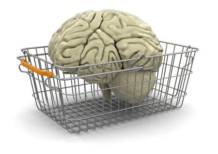 購物車和腦 版權商用圖片