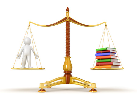 Justice Balance  with Books and man  photo