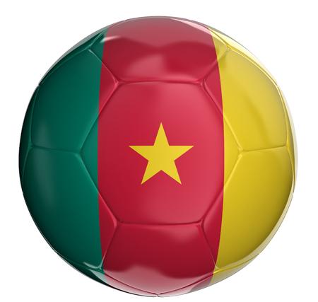 cameroon: Pallone da calcio con bandiera Camerun Archivio Fotografico