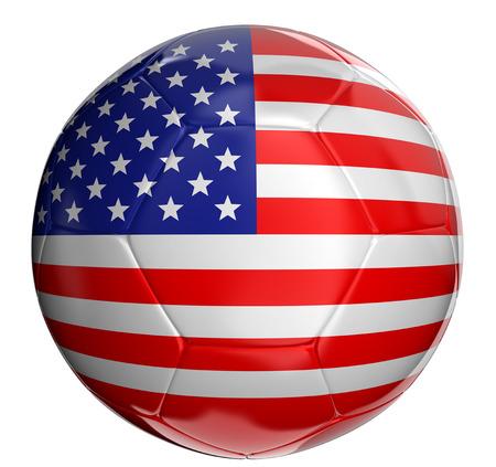 pelota de futbol: Bal�n de f�tbol con la bandera de EE.UU. Foto de archivo