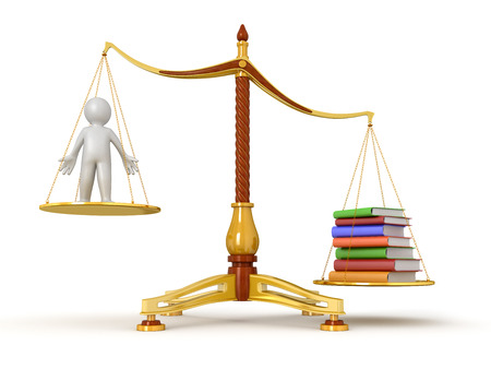 Justice Balance  with Books and man  clipping path included  photo