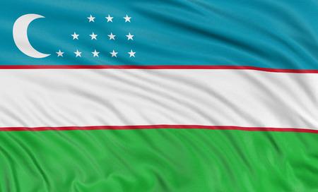 uzbek: 3D Uzbek flag