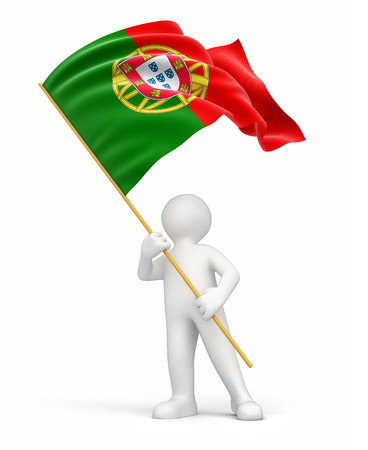 portuguese: Man and Portuguese flag  clipping path included