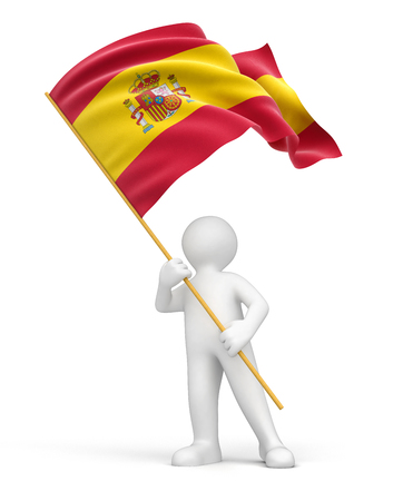 flag of spain: Man and Spanish flag  clipping path included  Stock Photo