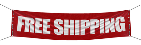 """""""free shipping"""" banner   clipping path included Reklamní fotografie - 22295816"""