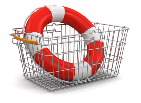 Shopping Basket and Lifebuoy  clipping path included  photo