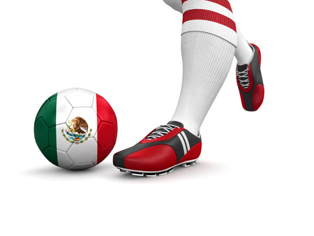 mexican flag: Man and soccer ball  with Mexican flag  Stock Photo
