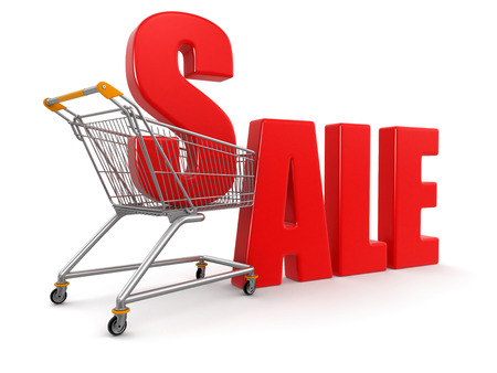 Shopping Cart with Sale   clipping path included  photo