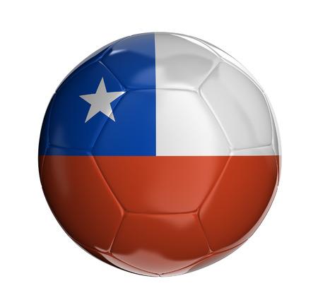 chilean flag: Bal�n de f�tbol con la bandera chilena