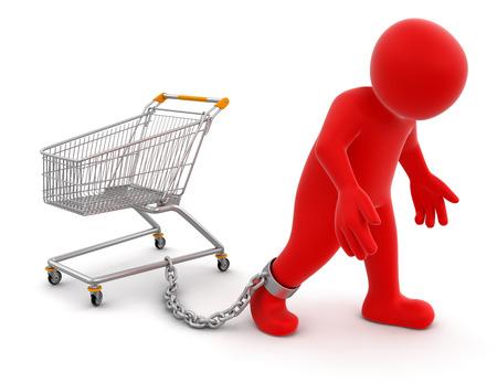 Man and Shopping Cart   Stock Photo