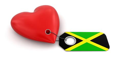 jamaican flag: Heart with Jamaican flag
