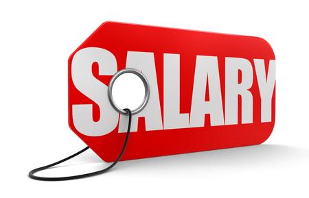 remuneración: Etiqueta con el salario Foto de archivo