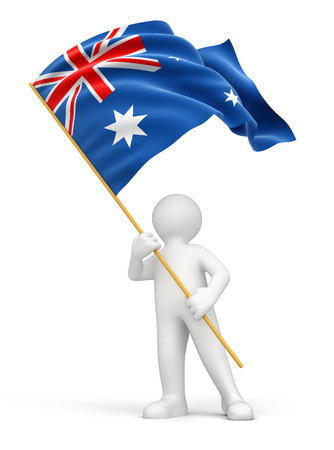 australian culture: Man and Australian flag  Stock Photo