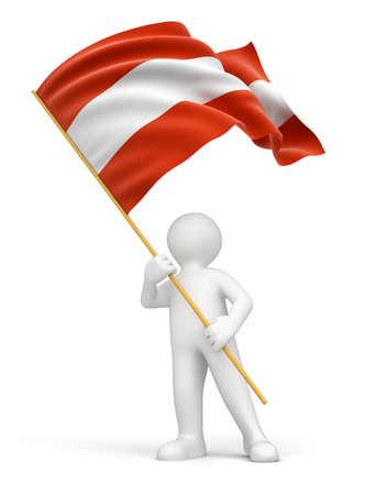 austrian flag: Man and Austrian flag
