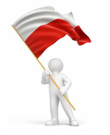 polish flag: Man and Polish flag