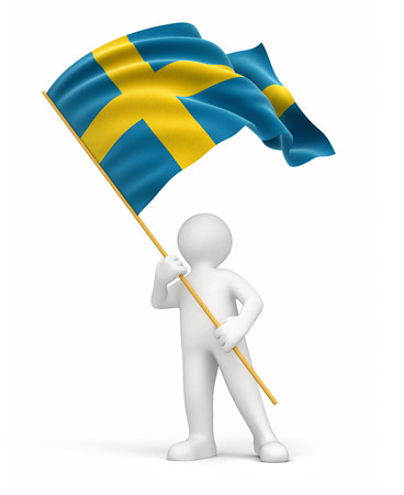 the swedish flag: Man and Swedish flag