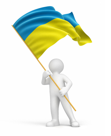 ukrainian flag: Man and Ukrainian flag