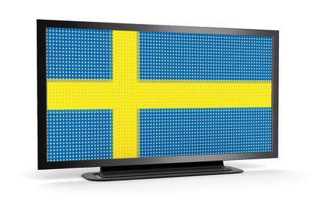 the swedish flag: TV with Swedish Flag