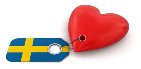 Heart with Swedish flag   photo