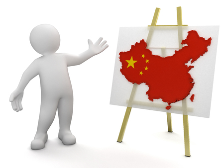 Chinese map: Hombre y mapa chino Foto de archivo