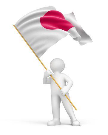 bandera japon: El hombre y la bandera japonesa