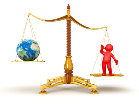 Justice Balance  with Globe and man  photo
