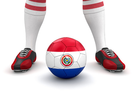 paraguayan: Man and soccer ball  with Paraguayan flag  clipping path included  Stock Photo