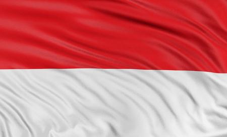 3D flag of Monaco photo