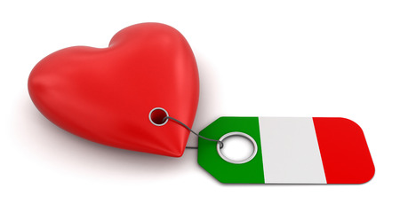 Heart with Italian flag  clipping path included  photo