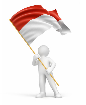 the indonesian flag: Man and Indonesian flag  clipping path included