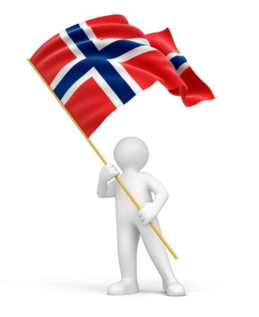 norwegian flag: Man and Norwegian flag  clipping path included