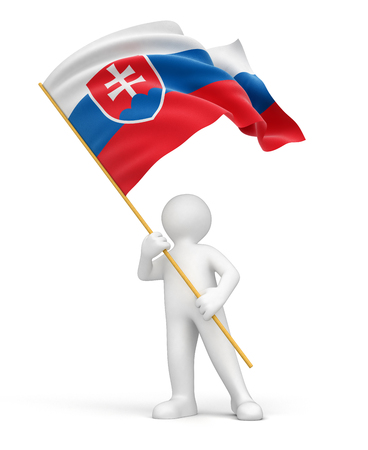 slovak: Man and Slovak flag  clipping path included